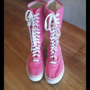 Knee high pink girls vans